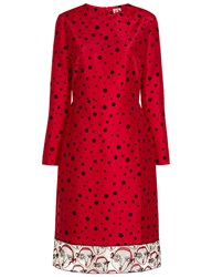 Shrimps Red Taffeta Polka Dot Gisele Dress