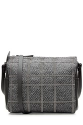 Brunello Cucinelli Embellished Wool Leather Shoulder Bag Grey