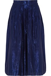 J.Crew Metallic Cotton Blend Voile Skirt Blue