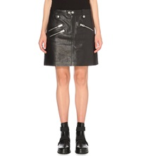Coach Zip Detail Leather Skirt Black