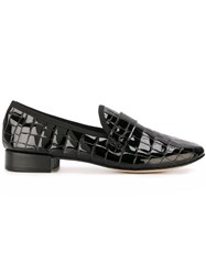 Repetto Crocodile Effect Loafers Black