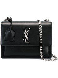 Saint Laurent Medium 'Sunset Monogram' Satchel Bag Black