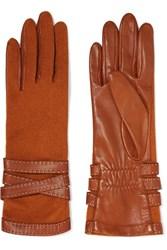 Agnelle Wool Blend And Leather Gloves Camel