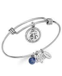 Unwritten Anchor Charm And Sodalite 8Mm Bangle Bracelet In Stainless Steel