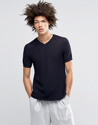 Asos Knitted Tshirt In Open Stitch Navy