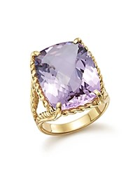 Bloomingdale's Lavender Amethyst Rectangular Statement Ring In 14K Yellow Gold Purple Gold