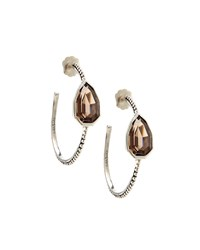 Stephen Dweck Sterling Silver And Smoky Quartz Cathedral Hoop Earrings Women's