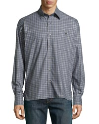 Ike Behar Check Sport Shirt Gray Blue