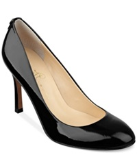 Ivanka Trump Janie Wide Width Mid Heel Pumps Women's Shoes Black Patent