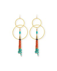 Turquoise And Coral Double Hoop Earrings Red Coral Devon Leigh