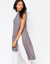 Love Split Back Tunic With High Neck Grey