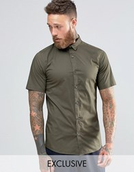 Only And Sons Skinny Smart Short Sleeve Shirt Khaki Green