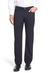 Men's Ballin Flat Front Solid Wool Blend Trousers Navy