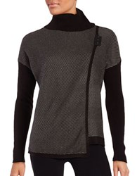Ivanka Trump Wrap Front Colorblocked Sweater Heather Stone