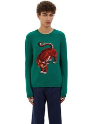 Gucci Tiger Intarsia Knit Crew Neck Sweater