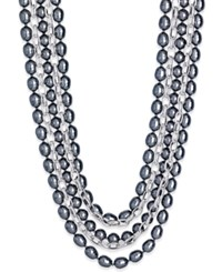 Charter Club Silver Tone Multi Layer Imitation Pearl Statement Necklace