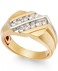 Macy's Men's Diamond Two Row Ring In 10K Gold 1 2 Ct. T.W.
