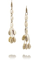 Isabel Marant Gold Tone Shell And Ceramic Bead Earrings White