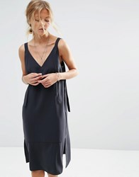 Asos Dungaree Style Slip Dress Black