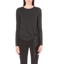 Whistles Tie Detail Long Sleeved Jersey Top Grey