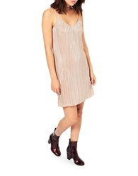 Miss Selfridge Shimmer Slip Dress Silver