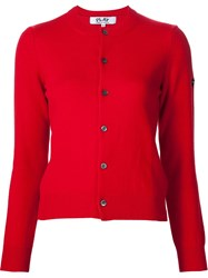 Comme Des Garcons Play Round Neck Cardigan Red