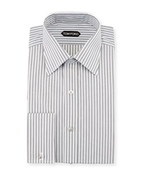 Tom Ford Striped French Cuff Dress Shirt Black White