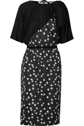 Band Of Outsiders Draped Printed Silk And Wool Blend Twill Dress Black