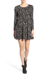 Women's Lush 'Lauren' Long Sleeve Shift Dress Black Cream Print