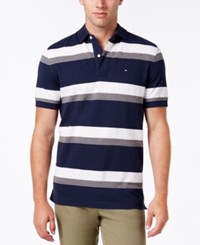 Tommy Hilfiger Men's Ace Striped Polo Navy Blazer