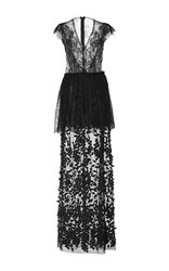 Costarellos Chantilly Lace And Tulle Long Dress Black
