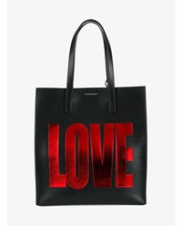 Givenchy Love Classic Leather Tote Black Red Blue Denim