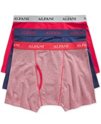 Alfani Men's Knit Stretch Boxer Briefs 3 Pack Only At Macy's Red Blue Stripe