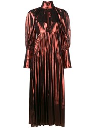Ellery Metallic Maxi Dress Yellow Orange