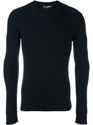 Dolce And Gabbana Ribbed Fitted Jumper Blue