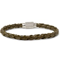 Polo Ralph Lauren Woven Leather Bracelet Army Green
