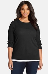 Plus Size Women's Halogen Cashmere Crewneck Sweater Black