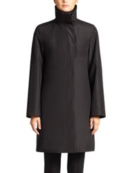 Akris Architecture Collection Double Layer Silk And Alpaca Blend Coat Black