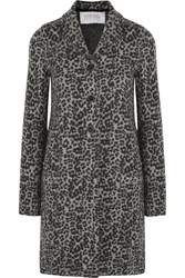 Harris Wharf London Intarsia Wool Coat Leopard Print