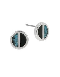 Kenneth Cole Teal Crescent Circle Earrings Blue