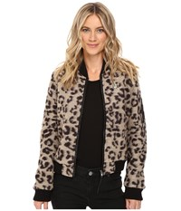 Obey Karina Bomber Jacket Leopard Women's Coat Animal Print