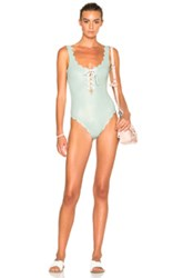 Marysia Swim Fwrd Exclusive Palm Springs Lace Up Swimsuit In Metallics Blue Metallics Blue