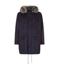 Brioni Fox Hood Coat Male Navy