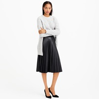 J.Crew Petite Faux Leather Pleated Midi Skirt