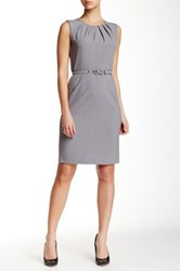 Nine West Sleeveless Pleat Neck Dress Gray