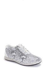 Women's Alegria By Pg Lite 'Essence' Lace Up Leather Oxford Posh Silver Leather