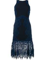 Jonathan Simkhai Macrame Lace Fitted Dress Blue