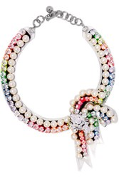 Shourouk Bow Rainbow Silver Tone Faux Pearl And Crystal Necklace