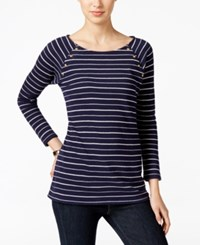 Charter Club Striped Textured Top Only At Macy's Intrpid Blue