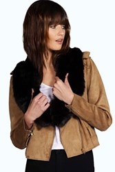 Boohoo Faux Fur Long Collar Scarf Black
